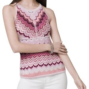 Multicolored Pink Chevron Knit Career Top